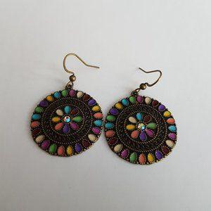 🌻2/$24 Brass Enamel Multi Colored Earrings
